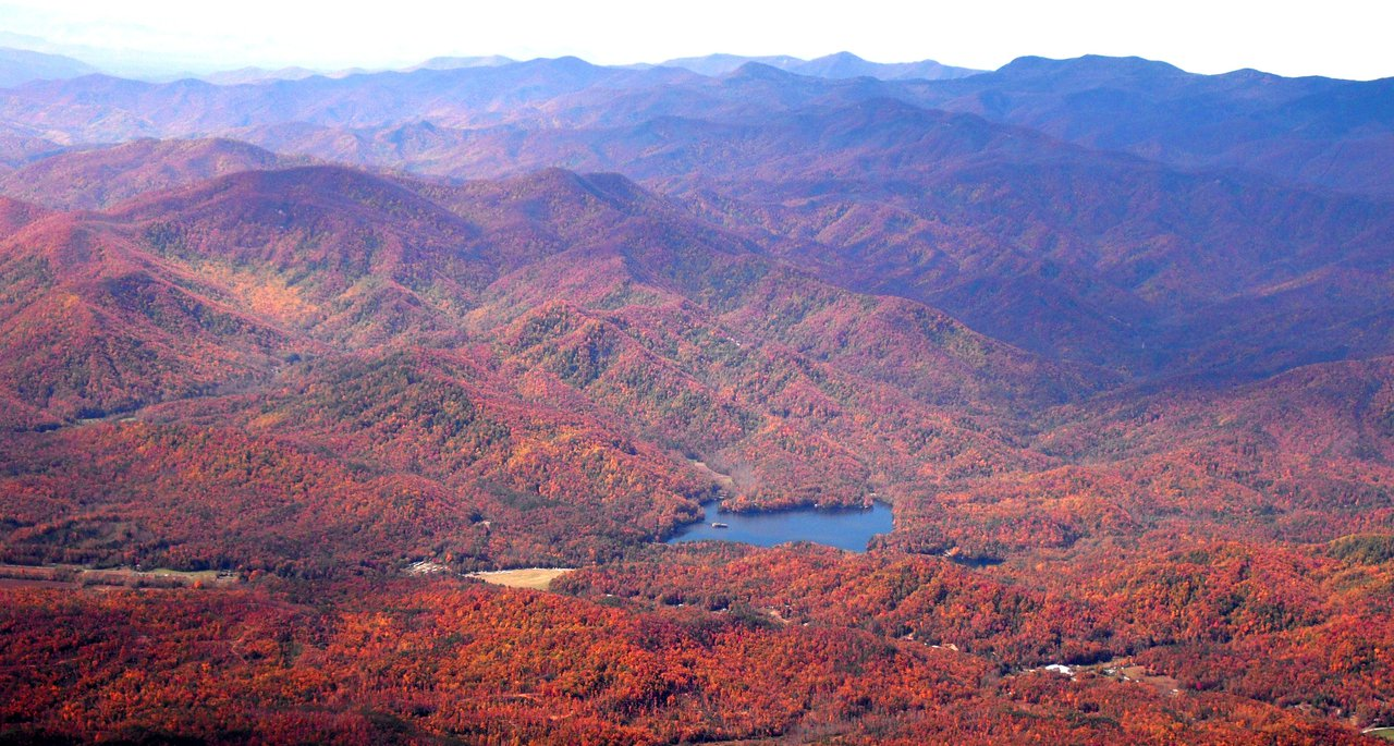 Fall Lake James aerial view